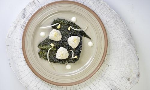 Fake hazelnut ricotta with crispy black cabbage le