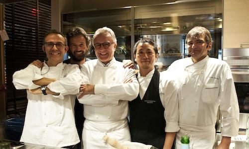 Da sinistra, Massimo Bottura, Carlo Cracco, Alain