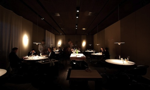 The lightning in the dining room of Le Calandre in