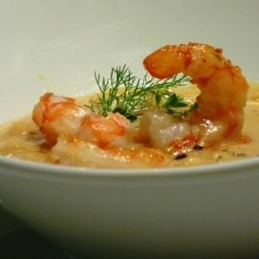 La Crema di ceci e gamberi del ristorante La Sosta di Swellendam