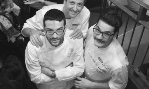 Giuseppe Iannotti with Christian Milone and Luciano Monosilio, 3 chefs for one dinner at Enocratia, last February 10 2013 (photo by Lido Vannucchi)