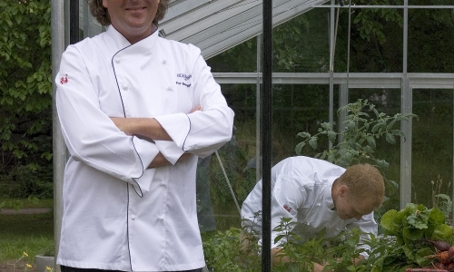 Chef Per Bengtsson and his greenhouse
