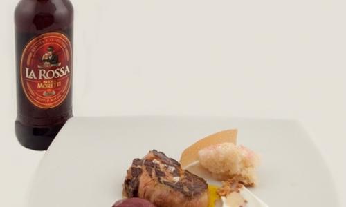 Beer as an ingredient: Birra Moretti Grand Cru. As a match: Birra Moretti La Rossa