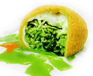 Mozzarella ball filled with basil tagliolini