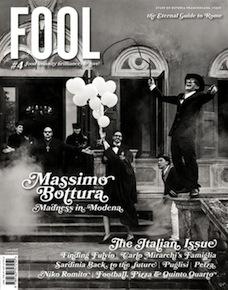 La copertina di Fool Magazinenumero 4, tutto dedicato all'Italia. Pubblicato in lingua inglese, il progetto è firmato dagli svedesiPer-Anders e Lotta Jörgensen