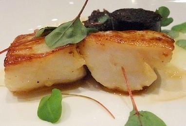 Capesante grigliate con black pudding scozzese di Michael Carter, chef del ristorante35 dell'hotel Hempel di Londra (foto Carr)