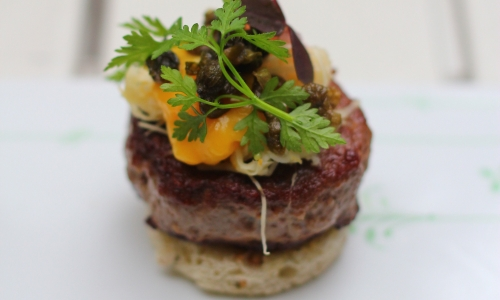 Smørrebrød di Parisian Beef alCafè Smushi Royal di Copenhagen