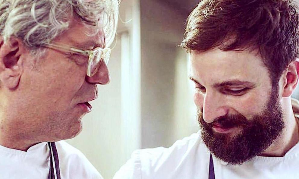 Stefano de Costanzo with Giorgio Locatelli. They are key players – the former pastry chef and the latter chef patron – at Locanda Locatelli in London