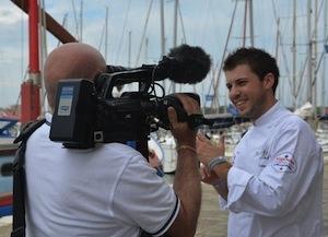 Interviste a fine gara, sull'isola di San Giorgio