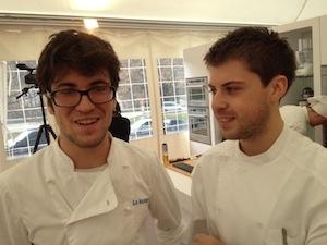 Mattia Spadone con il collega Lorenzo Cogo, chef d'El Coq di Marano Vicentino, più grande di 2 anni