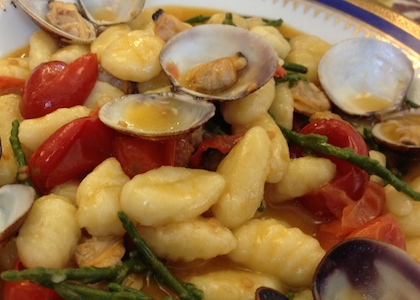 Potato gnocchi with clams, pickle-weed and cherry tomatoes