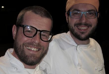 Eugenio Boer (barba e occhiali) e Fabrizio Ferrari (barba, occhiali e bandana) a San Vito Lo Capo per la Cous Cous Preview 2012