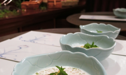 Eugenio Boer's dessert:Tapioca pearls soup with almond milk, fruit salad and healing herbs