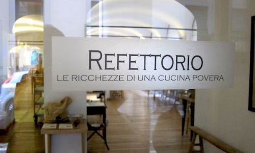 The entrance to the restaurant Refettorio Simplici