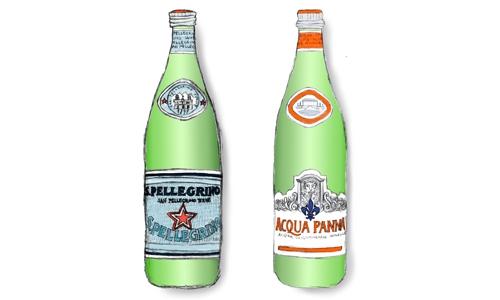 Le bottiglie di S.Pellegrino e Acqua Panna illustr