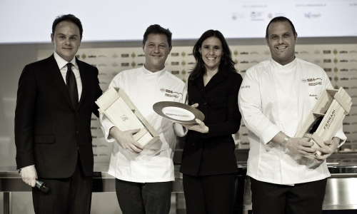 Matteo and Camilla Lunelli, owner of Cantine Ferrari, award Enrico and Roberto Cerea