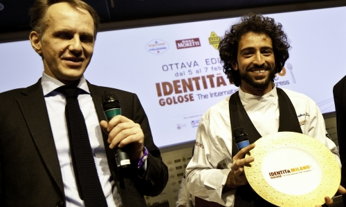 Paolo Caporossi, Italy Marketing Manager of S.Pellegrino, awards Franco Aliberti