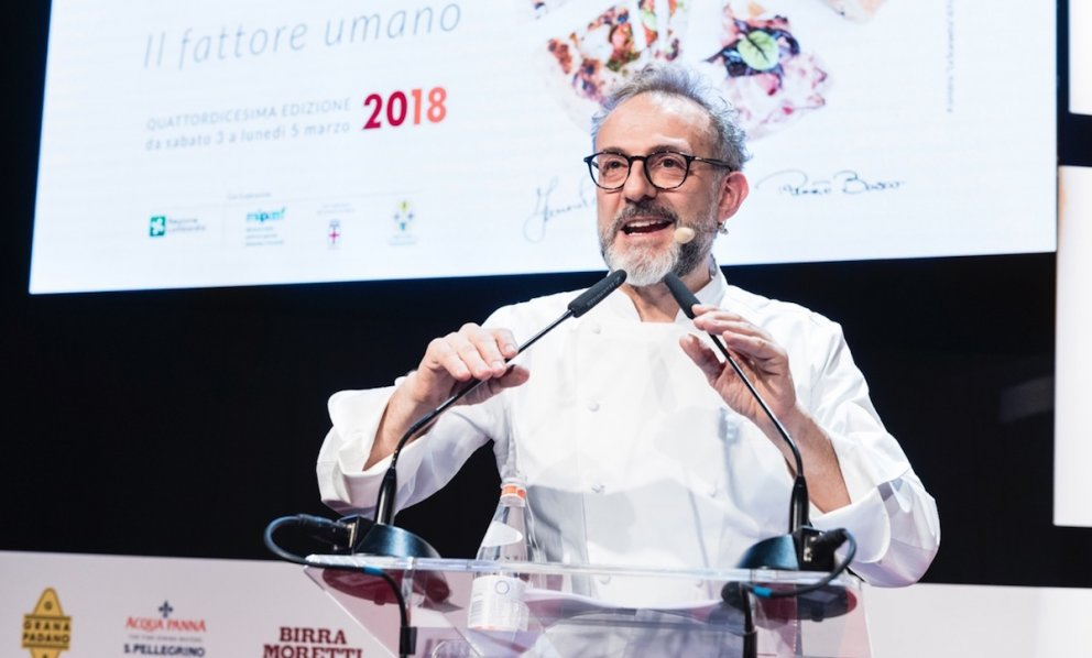 Massimo Bottura in a photo by Brambilla-Serrani on the stage of Identità Golose 2018. He has had a unique role in updating our traditions