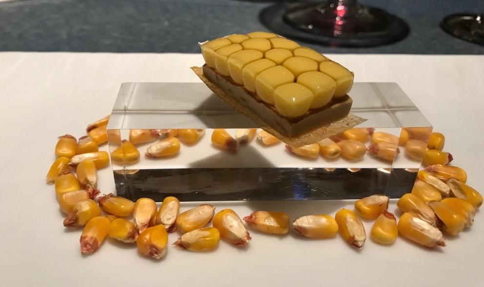 Tatin de foie-gras ymaíz multiesférico dei ragazzi di Disfrutar di Barcellona