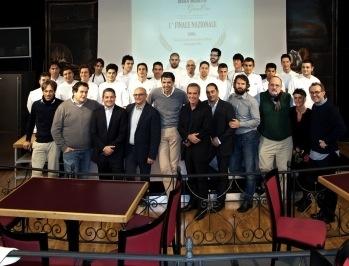 Foto di grupppo alla Città del Gusto di Roma, teatro della finale del Concorso
