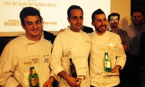 Al centro, Luigi Salomone, sous chef del ristorant