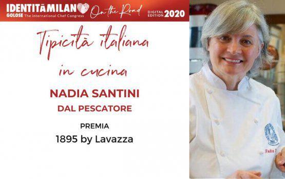 LavazzapremiaNadia Santinidel ristorante Dal Pescatore di Canneto sull'Oglio (Mantova)col premio Tpicità in Cucina