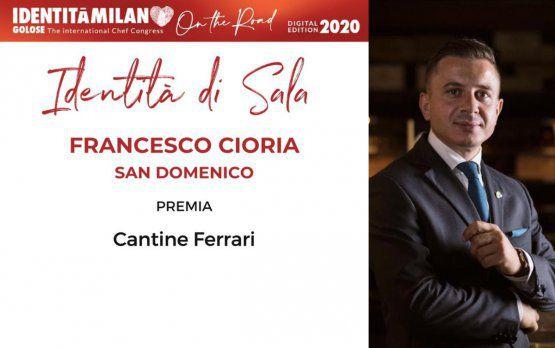 Cantine Ferrariconsegna il premio Identità di Sala a Francesco Cioria, del ristorante San Domenico di Imola (Bologna)