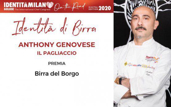 Birra del BorgopremiaAnthony Genovese, delristorante Il Pagliaccio a Roma,col premio Birra in Cucina