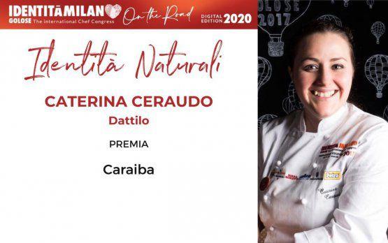 Caterina Ceraudo del ristorante Dattilo di Strongoli (Crotone)riceve il premio Identità Naturali. A consegnarlo èCaraiba