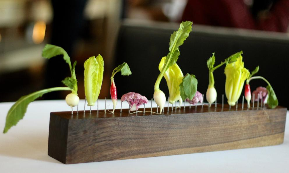 The vegetarian entrée at Blue Hill at Stone Barns, Dan Barber's acclaimed establishment (photo gourmadela.com)