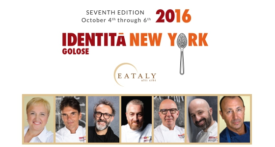 All the protagonists of the seventh edition of Identità New York: from the left to the right, Lidia Bastianich, Matthew Kenney, Massimo Bottura, Alex Atala, Franco Pepe, Niko Romito and Fortunato Nicotra