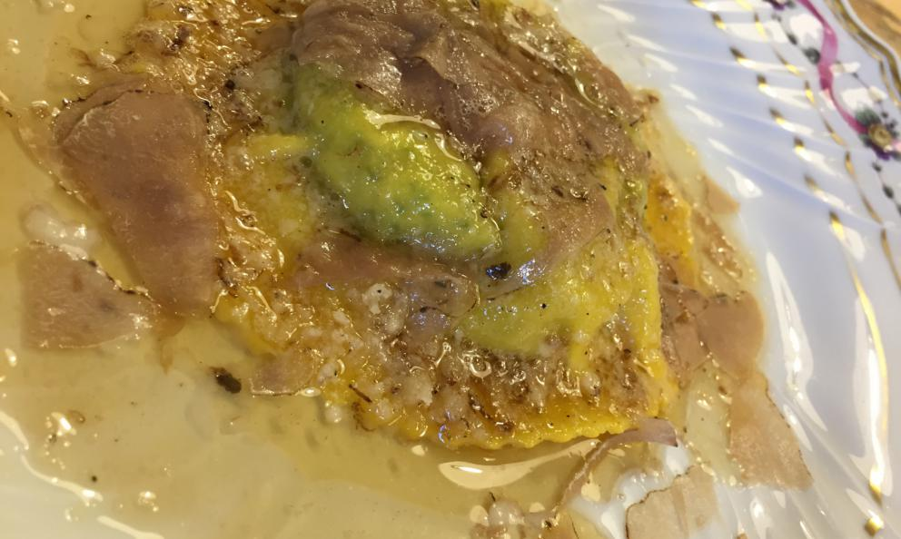 Uovo in raviolo from San Domenico in Imola, a dish by Nino Bergese, Valentino Marcattilii and, now, Massimiliano Mascia