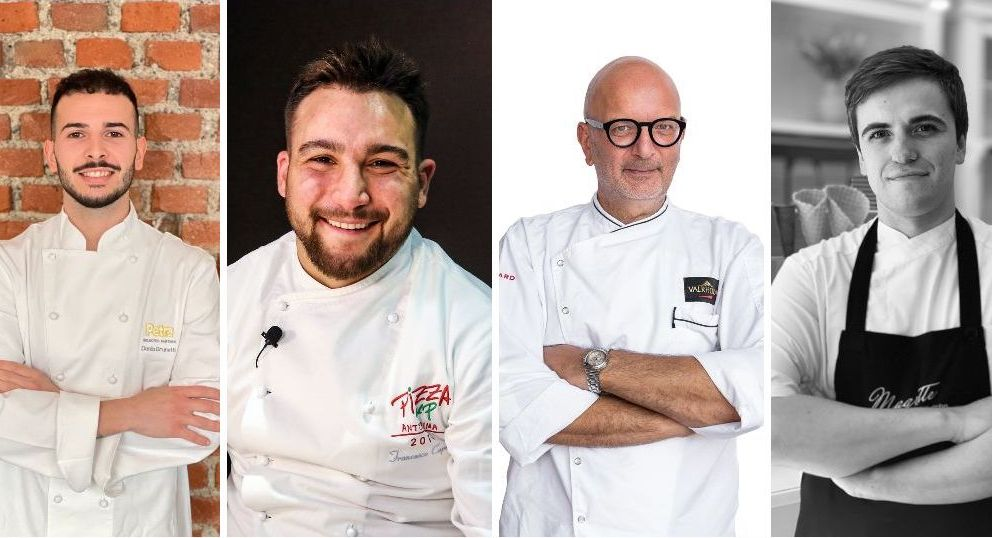 Left to right, the four new protagonists of Identità Milano 2021:Danilo Brunettifrom pizzeriaGiolina,Francesco Capecefrom pizzeriaLa Locanda dei Feudi,Pino Ladisafrom the pastry shop bearing his same name, and Gian Luca Cavifrom ice cream shop Magritte - Gelati al Cubo