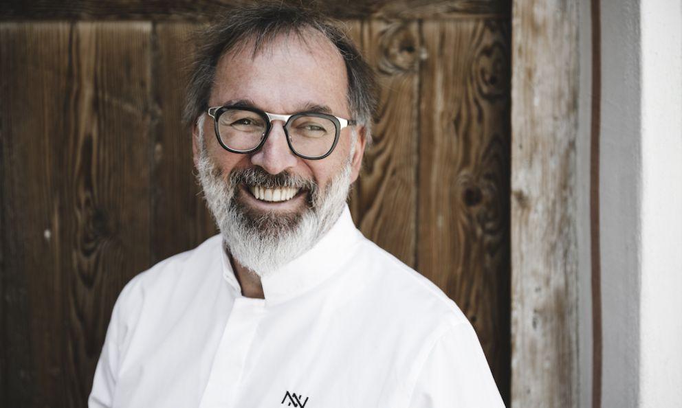Norbert Niederkofler, born in 1961, chef at restaurantSt. HubertusinsideHotel Rosa Alpinain San Cassiano (Bolzano), 3 Michelin stars (portrait byAlex Moling)