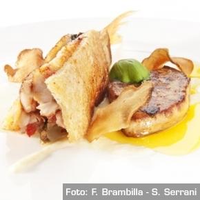Triglia, foie gras e topinambur, piatto di Enrico Panero de Il Marin di Eataly Genova, tra le promesse più luminose della regione