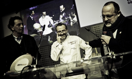 Nicola Baldrighi, President of Consorzio Grana Padano, awards Massimo Bottura