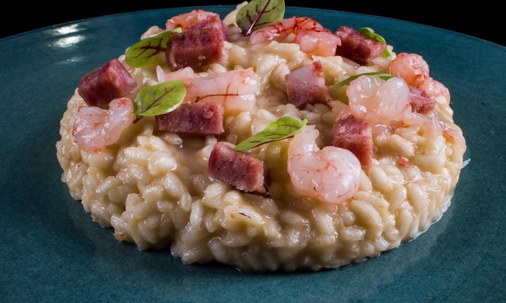 Risotto gamberi, mortadella di Prato e riduzione al Vermouth pratese diMirko Giannoni, chef del Pepe Nero di Prato,+39.0574.550353