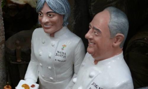 Poche le donne anche nel presepe degli chef di San Gregoro Armeno (nella foto, Nadia Santini con Aimo Moroni)