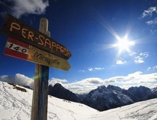 Sappada, 1,245 m above sea level, on the border between Veneto, Friuli Venezia Giulia and Carinthia (Austria)