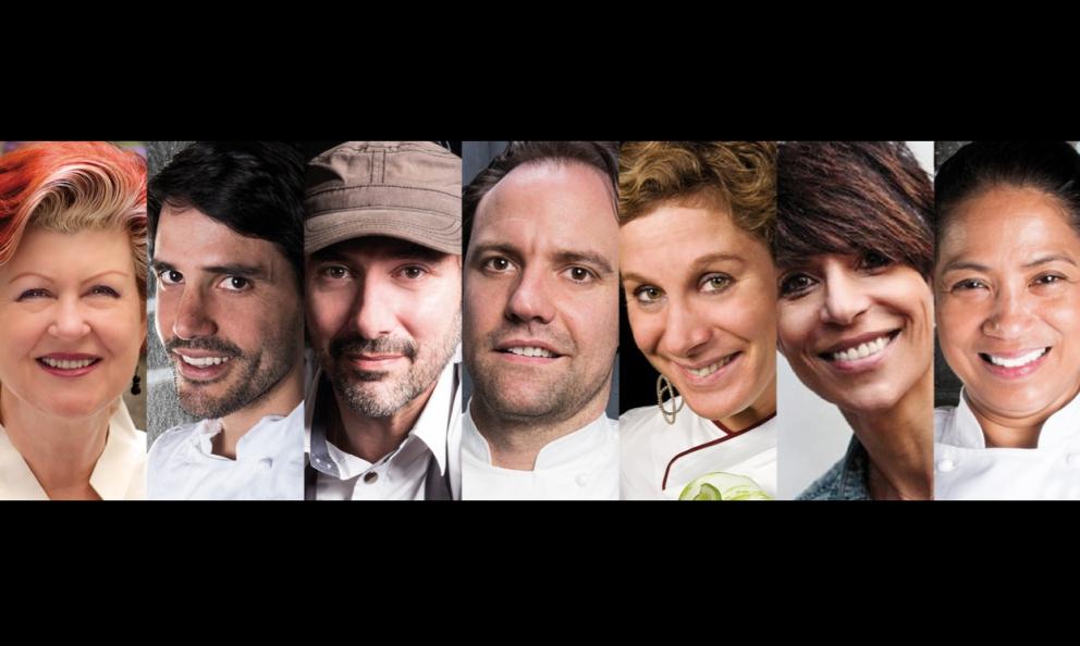 La giuria del S.Pellegrino Young Chef 2018. Da sinistraAnnie Féolde, Virgilio Martinez, Paul Pairet, Brett Graham, Ana Roš, Dominique Crenne Margarita Forés