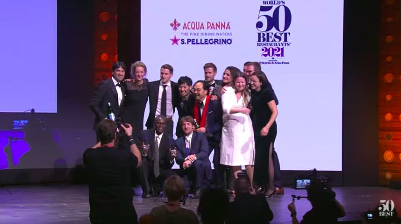 The team from Nomain Copenhagen celebrates the first place in The World's 50Best Restaurants 2021