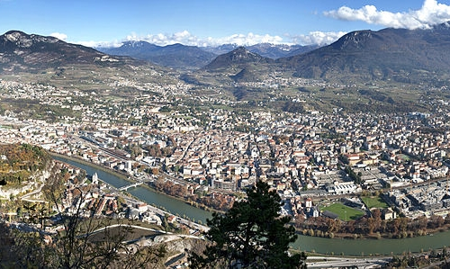 A panoramic view of Trento: the city, as illustrat