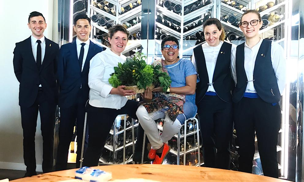 Lots of news fromAlice,Viviana Varese's restaurant insideEataly Smeraldoin Milan. Left to right,Gianluca De MarcoandLuis Diaz, the two new maîtres, then the chef withRitu Dalmia, the Indian restaurant-woman who bought 20 ofVarese's business. Finally, the two sommeliers,Federica RadiceandJessica Rocchi