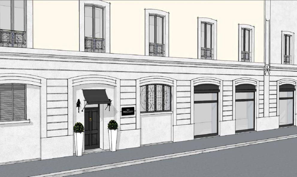 Il rendering della facciata del nuovo Felix Lo Basso home&restaurant, in via Carlo Goldoni angolo Ciro Menotti a Milano (non c'è ancora il numero civico, il portone liberty è stato realizzato ex novo). Apre venerdì per le prove generali, settimana prossima per le prenotazioni, tel. +39 02 45409759