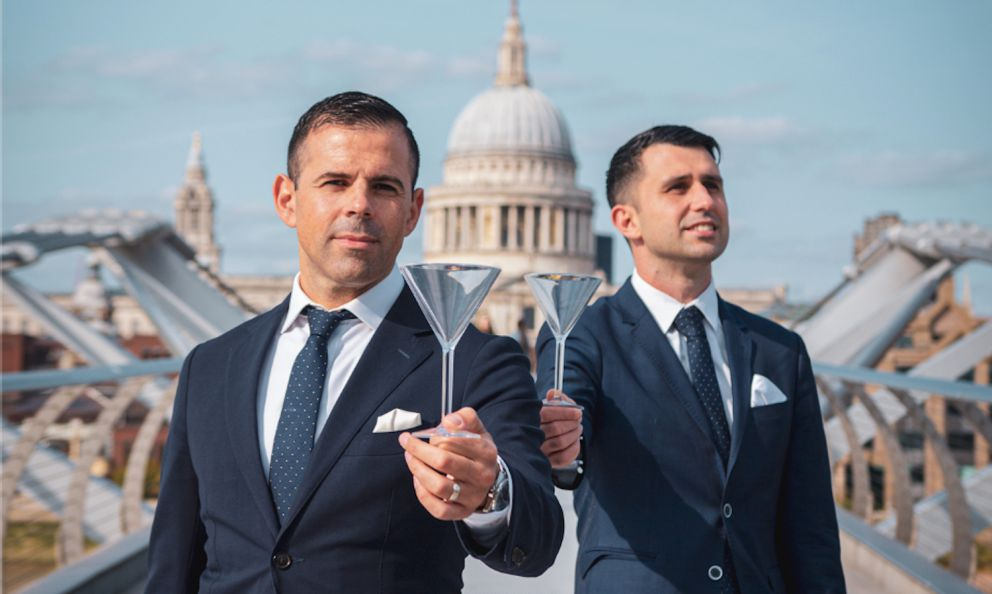 Agostino PerroneandGiorgio Bargiani, the two Italians (the former from Como, the latter from Pisa) at the helm ofConnaught Bar, at the top of theWorld's 50 Best Bar. PhotoLeonardo Filippini