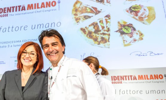 Alléno with Eleonora Cozzella, who presented Identità di Pasta