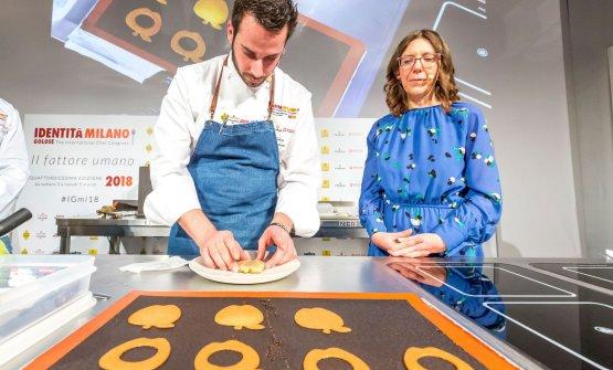 Andrea Tortora con Cristina Viggè, che ha presentato tutte le lezioni di Pasticceria italiana contemporanea
