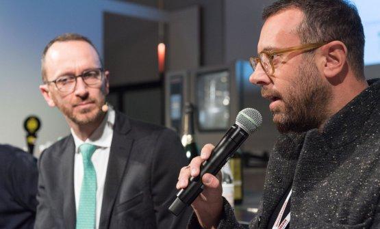 Luca Zaccheronie il moderatore del dibattito, Federico De Cesare Viola
