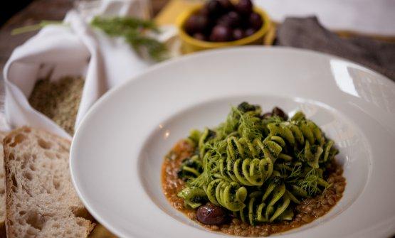Pasta e cicoria, olive, lenticchie e finocchietto