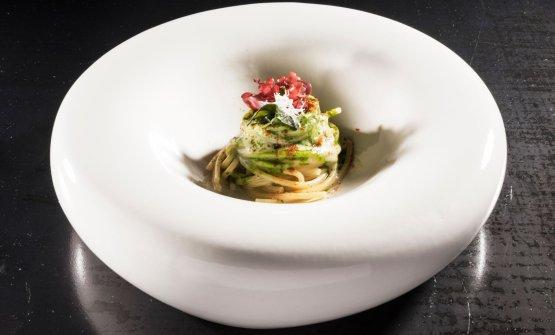 Lo Spaghetto: un pezzo di mare di Salvatore Bianco, di cui oggi raccontiamo la ricetta, è stato anche proposto durante il Congresso di Identità Milano 2018, a Identità di Pasta (foto Brambilla / Serrani)
